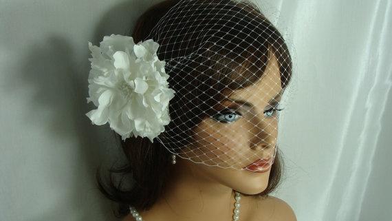 White Bandeau Veil with Flower Fascinator by SusanCarolBridal, $69.00