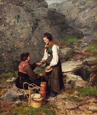 Jahn Ekenæs (1847-1920): 'Two Woman in National Costumes from Flesberg in Numedal'