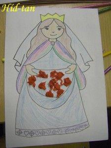 Szent Erzsébet színező készen, krepp galacsin rózsákkal