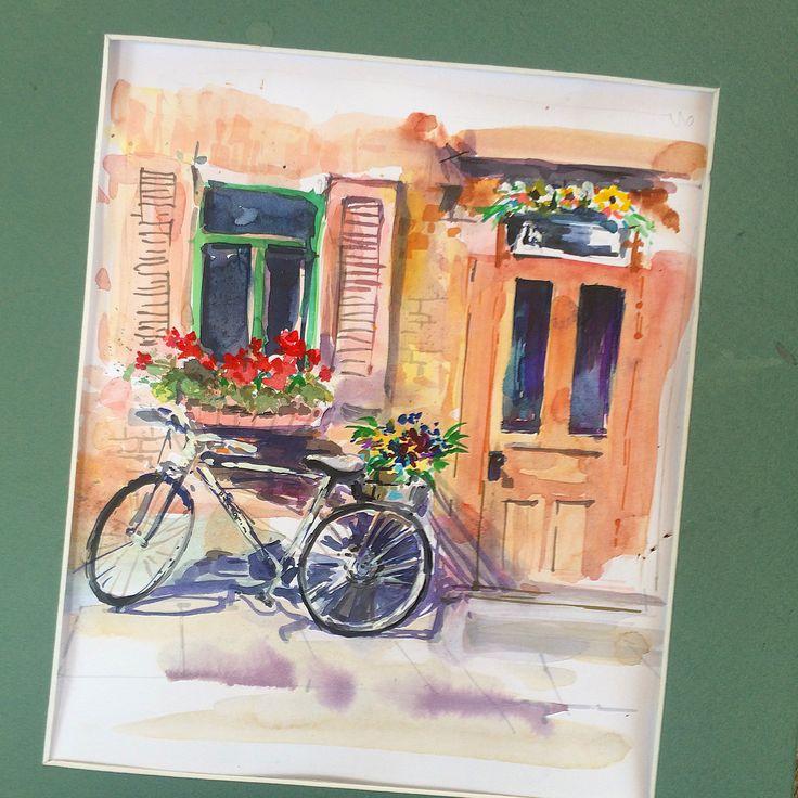 Hanna Zahorna watercolour painting of Quebec City 2017 #watercolorpainting #quebec #cityscape #watercolor #aquarelle #акварель #watercolorart #hannazahorna #artukraine #canada #bicycle