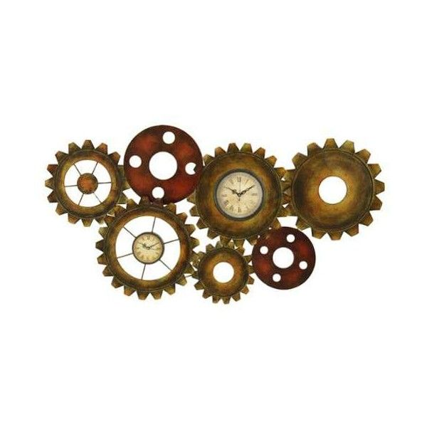 Aspire Home Accents 1293 Tinsley Metal Gears Wall Clock Brown Home ($57) ❤ liked on Polyvore featuring home, home decor, clocks, brown, wall clocks, brown wall clock, time zone clock, roman numeral clock, battery operated clocks and metal roman numeral clock