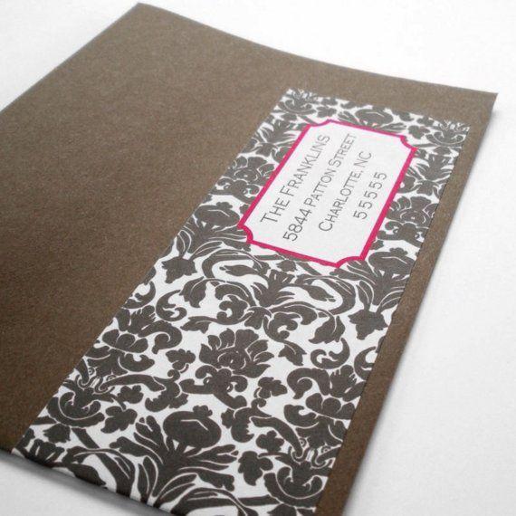 Damask Custom Wrap Around Envelope Labels by PoshGirlBoutique, $10.00