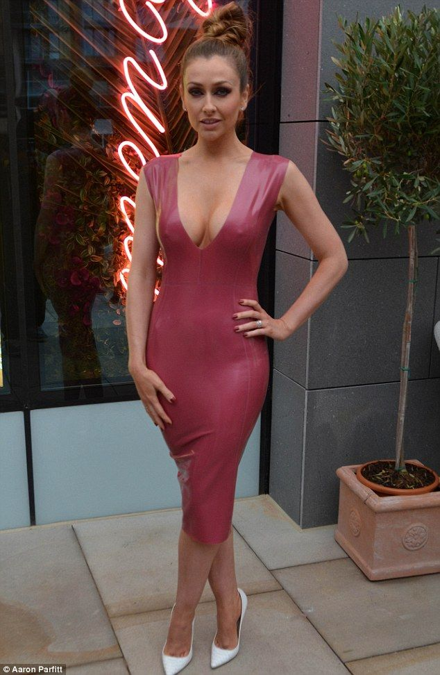 Dare to bare: Actress Gemma Merna, 32, left little to the imagination in a skin-tight latex pink dress as she attended a restaurant opening in Manchester on Thursday night