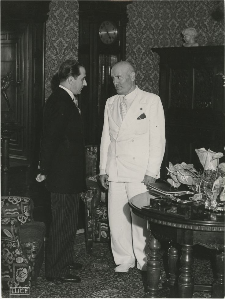 On March 23, 1919, Benito Mussolini, an Italian World War I veteran and publisher of Socialist newspapers, broke with the Italian Socialists and established the nationalist Fasci di Combattimento, better known as the Fascist Party. Mihai Antonescu's visit to Benito Mussolini, Photograph 34.Photo from the Gertrude Sanford Legendre Papers, 1844-1996 held by the College of Charleston Libraries.