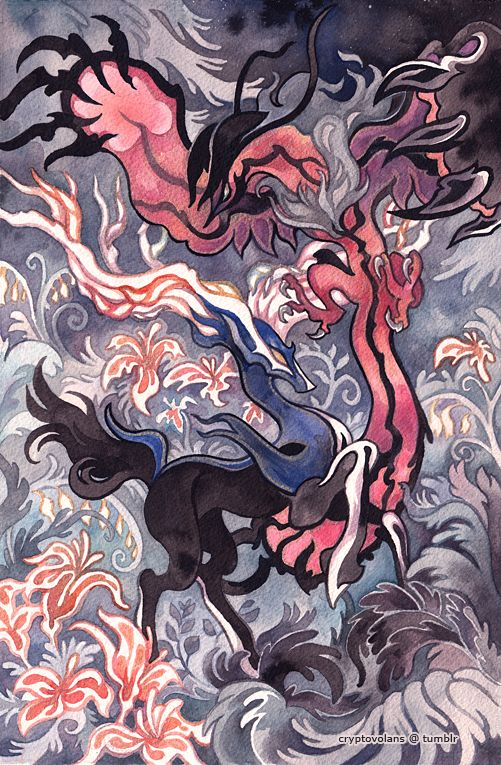 Xerneas and Yveltal by *creepyfish on deviantART. Got a real ancient Japanese scroll feel to it doesn't it. Awesome