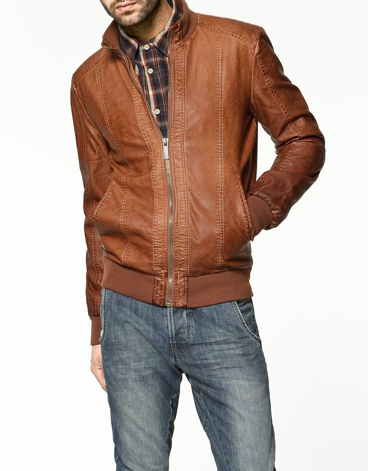 Brown Synthetic Leather Jacket by Zara