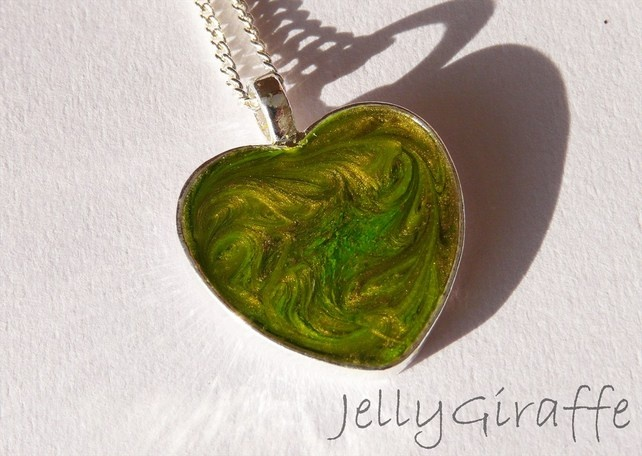 Green and Gold Enamel Heart Pendant £16.00
