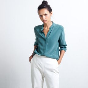 Silk Blouse - Band Collar on shopstyle.com