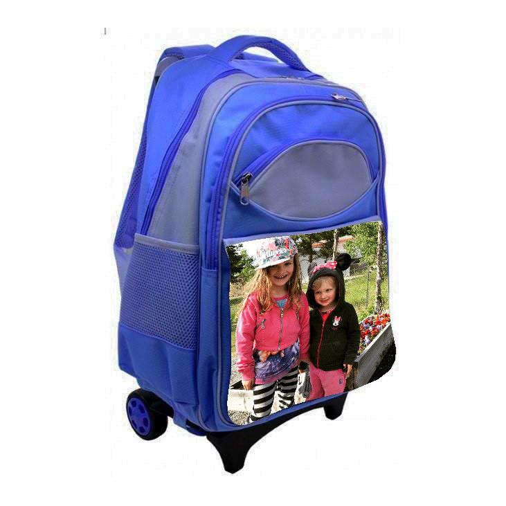 Personalised kids travel bag luggage Pink blue with your own picture or photo  #Unbranded