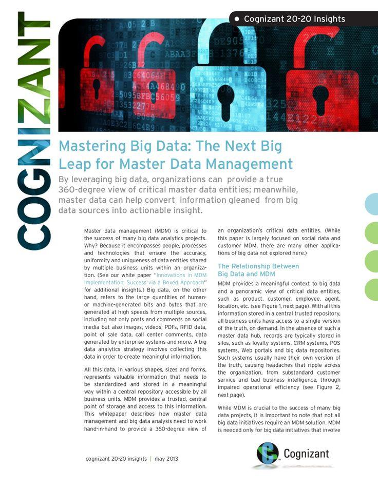 Mastering Big Data: The Next Big Leap for Master Data Management #Big_Data