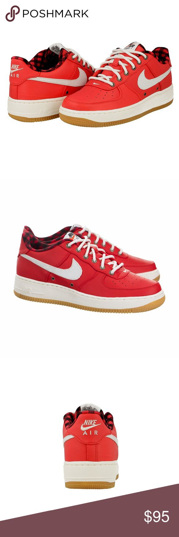 NIKE AIR FORCE 1 LV8 RED SHOES WOMENS SIZE 8 Shoes are a size 6.5 YOUTH GS. Which equals to a women's size 8. I added a picture of the sizing chart. Please take a look at it if you have any sizing questions. No box. Nike Shoes Sneakers