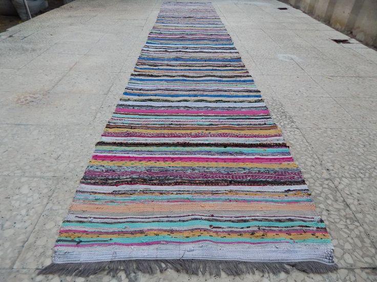 2.4x13.3 FT Vintage Turkish Handmade Cotton Kilim Rag Rug Runner,Long Floor  Rug