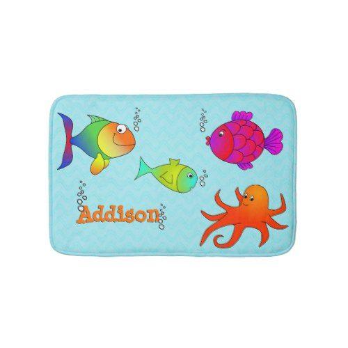 Cute and Friendly Sea Creatures Kids Bath Mat