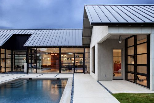 Windows, exterior wall material and roof - work great together.Ideas, York Architects, Metals Roof, Modern Exterior, Metals Buildings, Exterior House, Mckinney York, Modern House, Windows Design