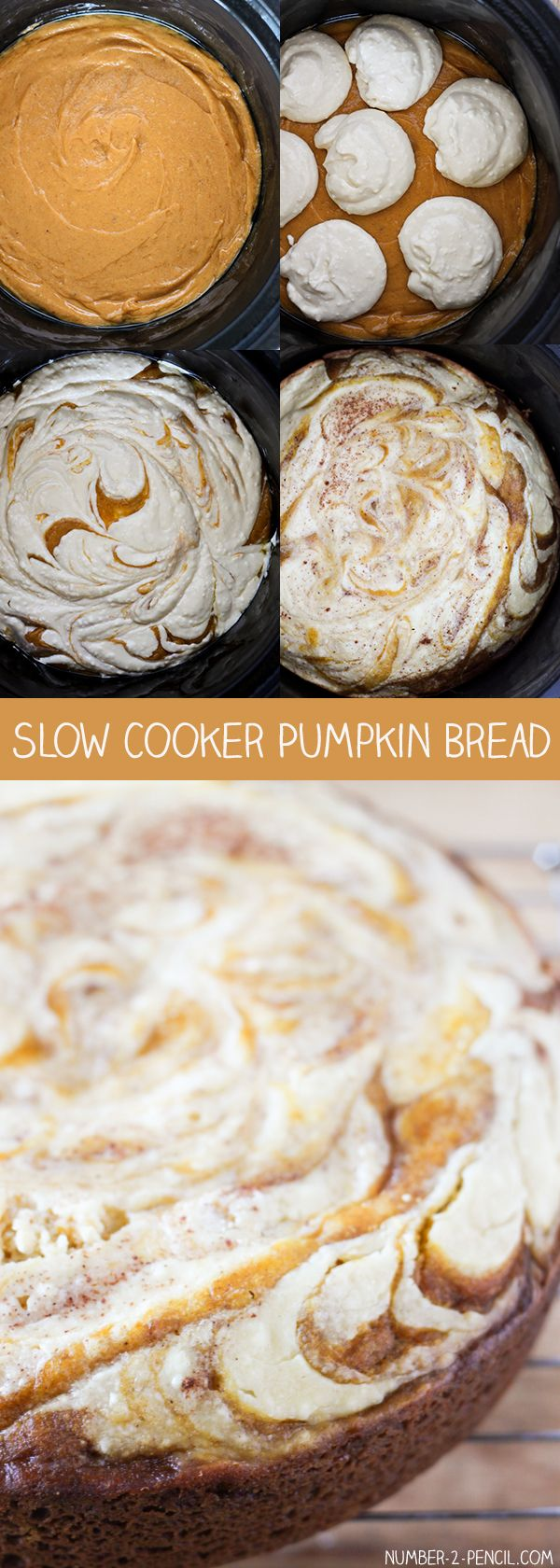 Slow Cooker Cream Cheese Swirl Pumpkin Bread - homemade pumpkin bread with a decadent cream cheese swirl baked right in the slow cooker!