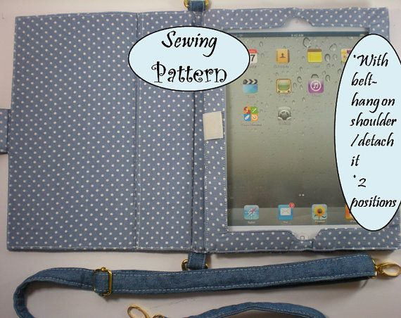 Padded E-reader IPad 1 or 2 Folding Cover Case Sleeve / Notebook with belt Tutorial ( sewing pattern PDF Ebook ) No.1