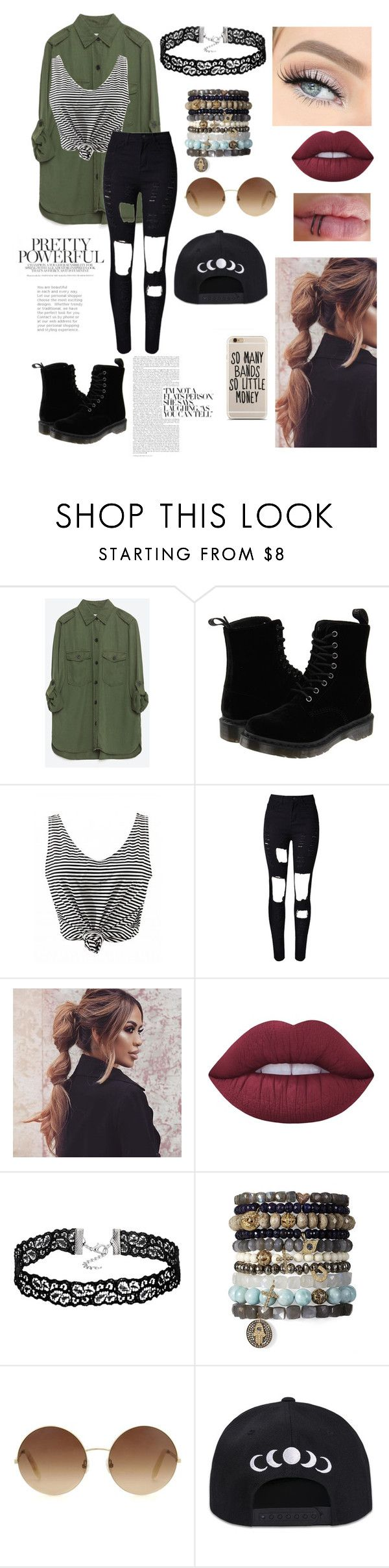 """Untitled #76"" by paigevjacobs on Polyvore featuring Zara, Dr. Martens, WithChic, Lime Crime and Victoria Beckham"