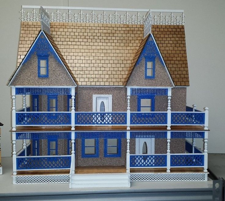 Tiffany Victorian in 1:24 scale, kit comes with porch post, porch rails, Plexiglas, working interior doors, two working main exterior doors, detailed skirt, door and window frames, shingles ( sold in kit either with or w/out), interior stair case assemblies, spindles, newel post, Gables and porch stairs. A complete kit. Kit measures 24w x 12D x 23H.