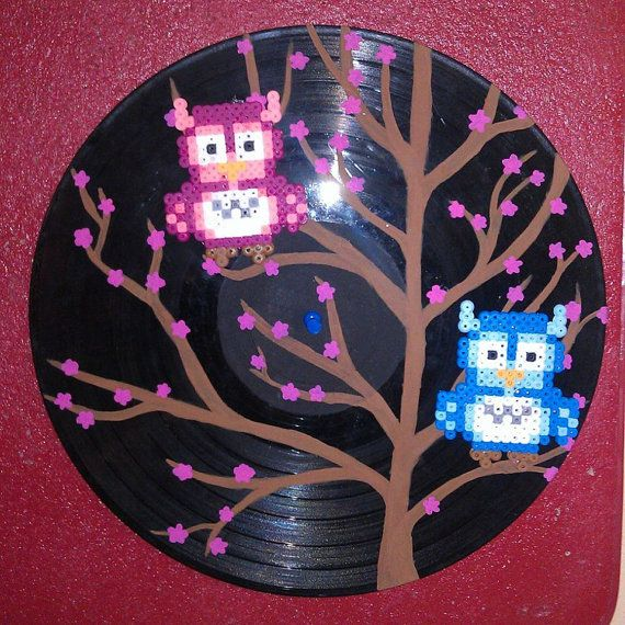 Owls on Cherry Blossom tree vinyl record art by ValeriasMarvels, $15.00