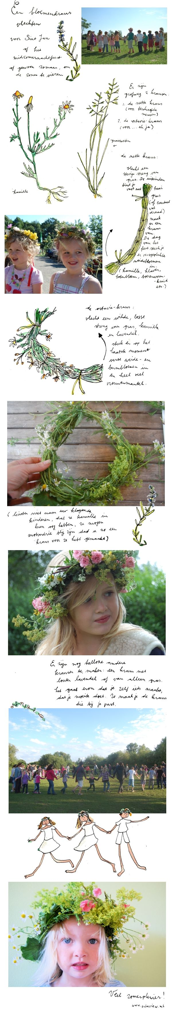 Very pretty and casual flower garland for a Midsummer Night's Feast - by Octavie Wolters (Dutch: Instructie bloemenkrans vlechten Sint Jan)