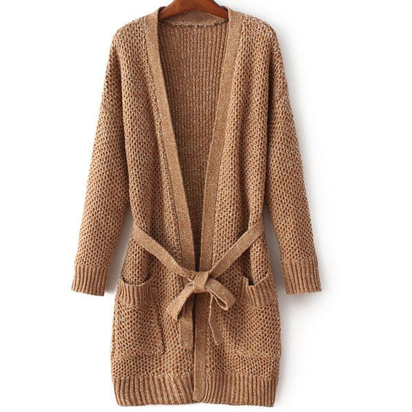 Thicken Long Sleeve Pockets Belted Cardigan ($37) ❤ liked on ...