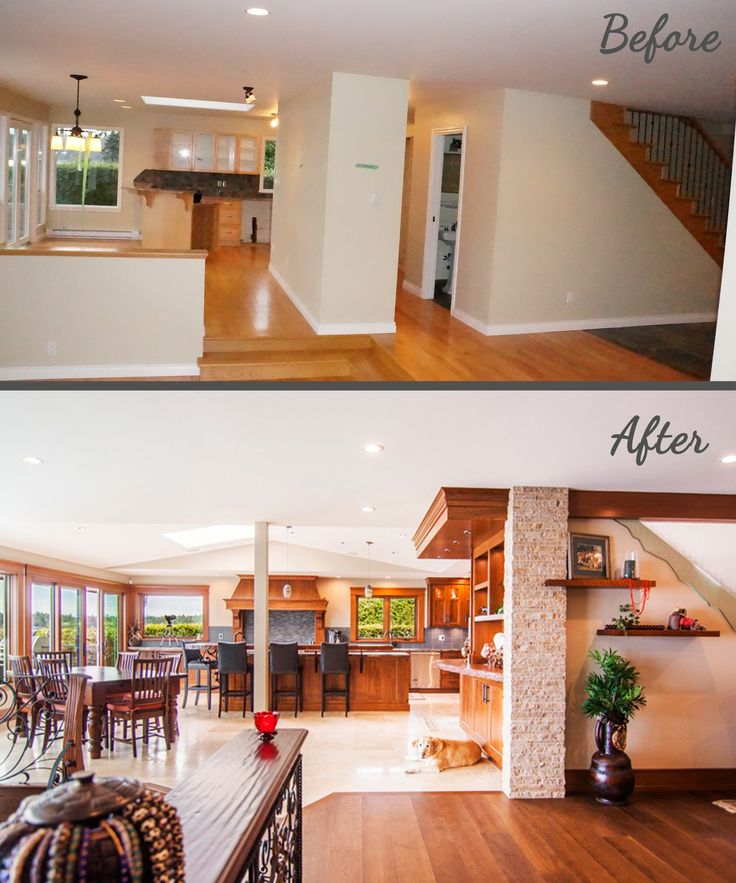 Before & After House Transformation, Glassed-in staircase, stacked stone Columns, Vaulted Ceilings, Custom Iron Railings, Crystal Cabinetry Kitchen