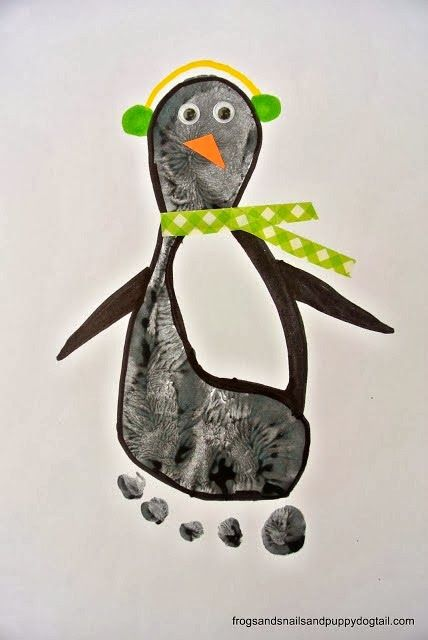 Penguin Footprint Art by FSPDT  * fun winter craft for the kids