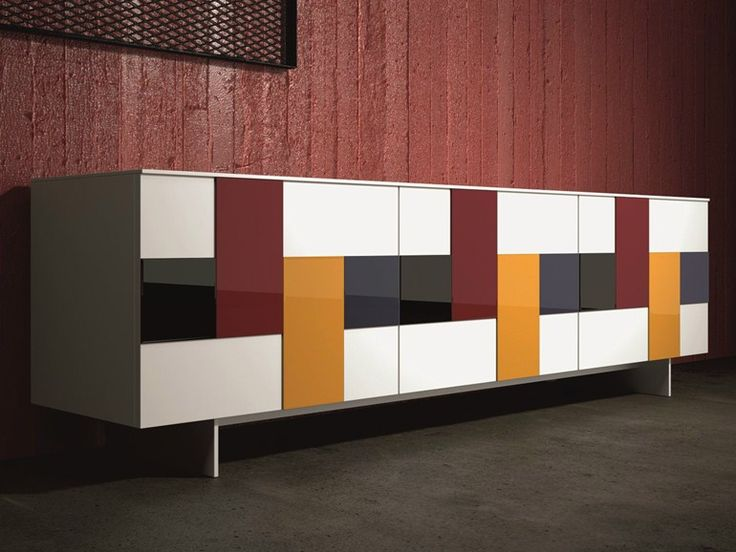 Lacquered stained glass sideboard with doors Glass Collection by Dall'Agnese | design Imago Design, Massimo Rosa