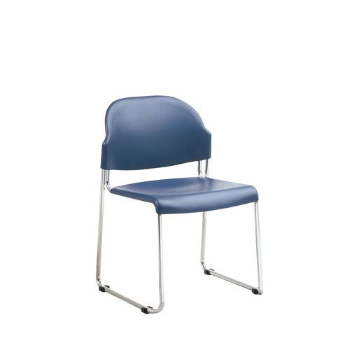 Work Smart Four Pack Blue Stack Chair with Plastic Seat and Back