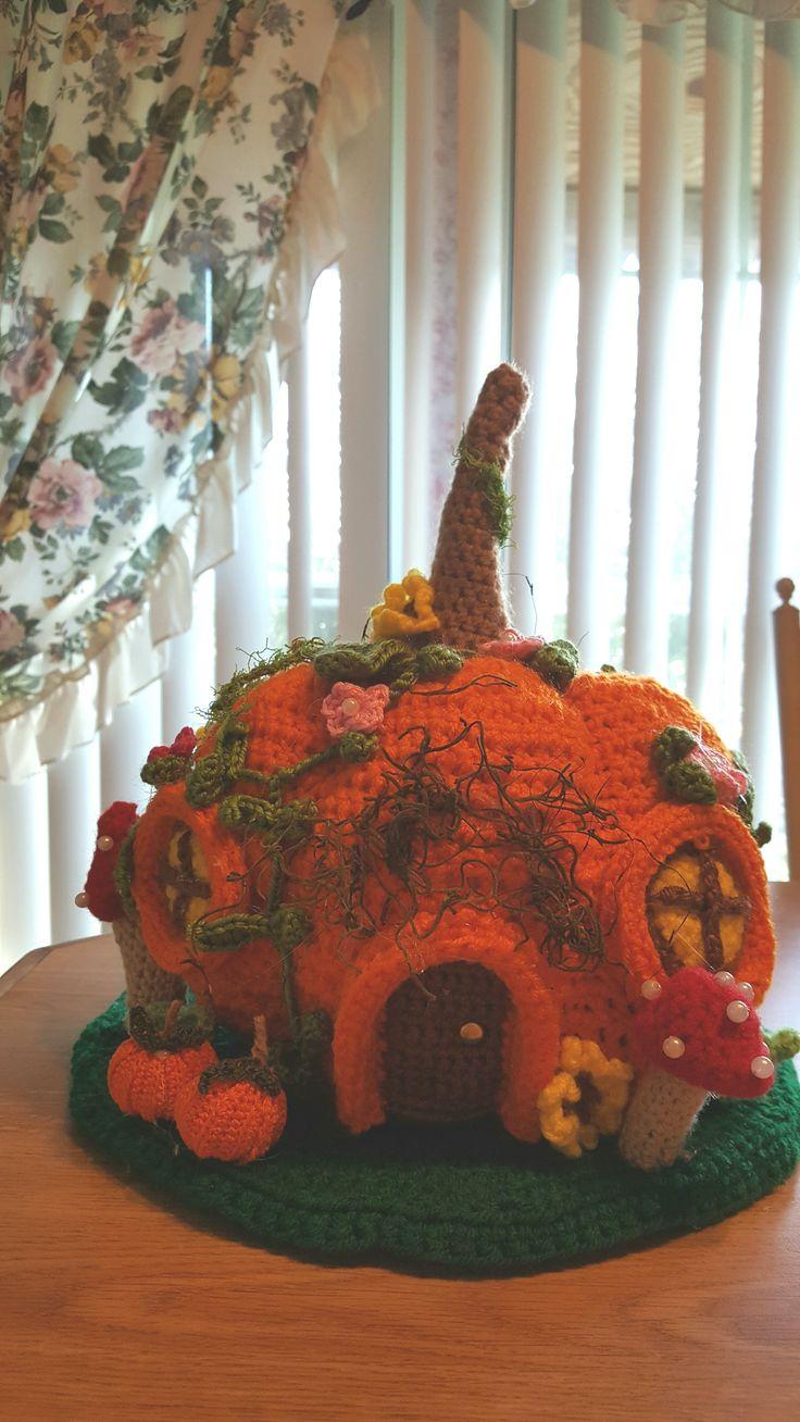 My newest house. handmade crochet pumpkin house