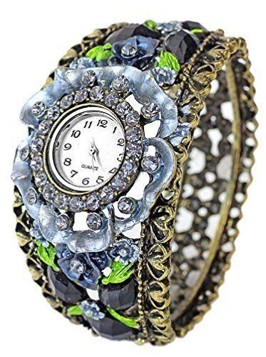 Handgefertigte Spangenuhr mit 62 Strass Steinen Silber - http://geschirrkaufen.online/exc-2/handgefertigte-spangenuhr-mit-62-strass-steinen