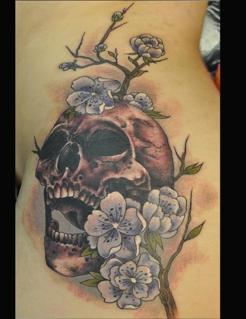 Skull Jaw Tattoo: Open Mouth Skull With Flowers Tattoo, I Am Seeing This As
