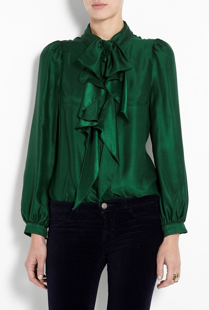 #Emerald Green Charlyee Bow #Blouse by #Milly