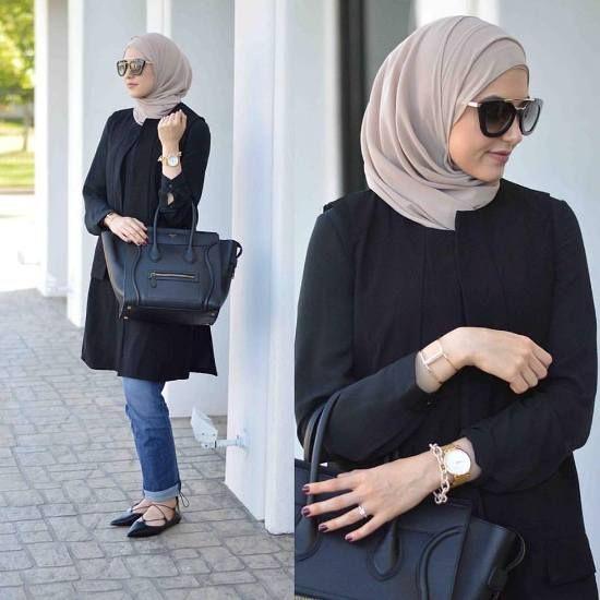 leena asad black tunic, Street styles hijab looks http://www.justtrendygirls.com/street-styles-hijab-looks/
