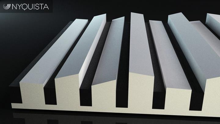 Nyquista stworzyła unikalną gamę paneli absorbcyjno-dyfuzyjnych, by zredukować czas pogłosu (echo), nie odbierając przy tym naturalnego brzmienia w pomieszczeniu. Akustyka akustyką, ale jak wam się podoba design?