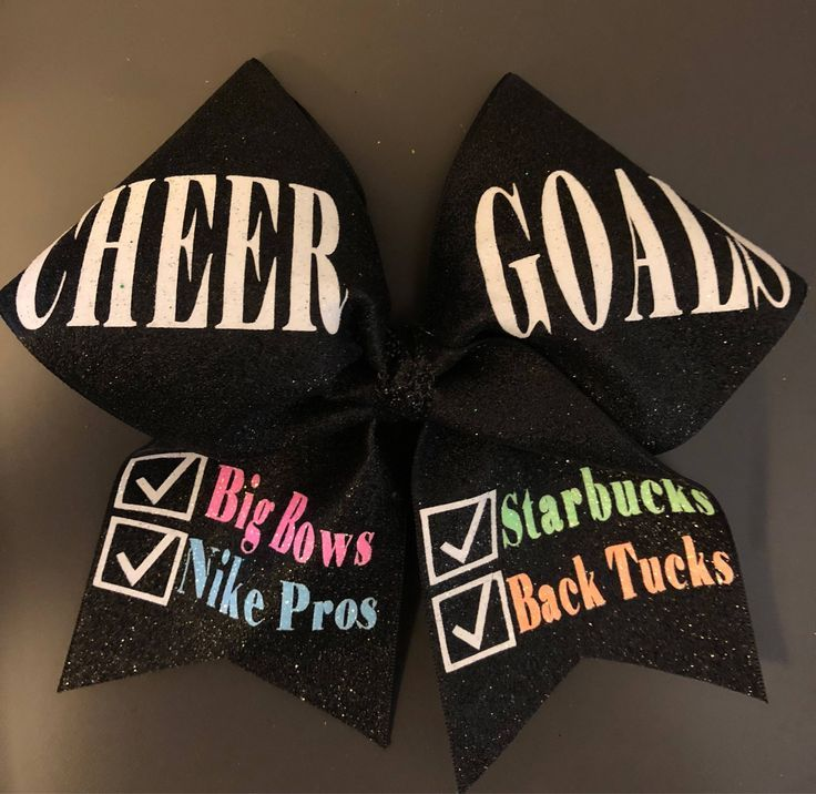 Cheer Goals Bow - Cheer Bow - Cheerleading Gift - Starbucks Back Tucks Bow - Cheer Goals - Squad Goals Bow by JKCreationStore on Etsy https://www.etsy.com/listing/570096620/cheer-goals-bow-cheer-bow-cheerleading
