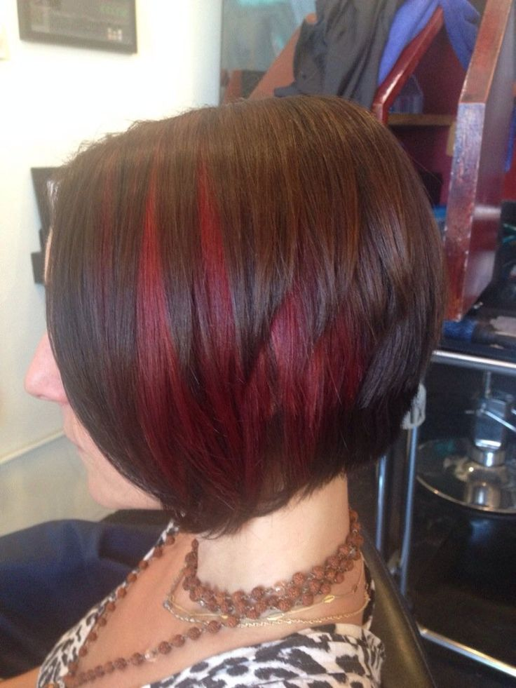 Mary Tran - Santa Monica, CA, United States. Red peekaboo highlights and a-line haircut