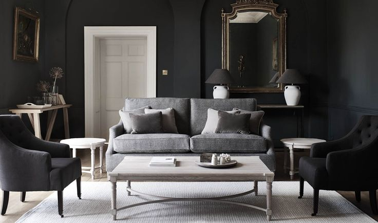 Walls painted in Charcoal. Eva sofa in Angus Flint, Amelia armchairs in Archie…
