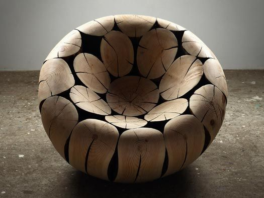 I want this chair! Reminds me of a wooden bean bag chair.   Pine and Chestnut Chair by Lee Jae-Hyo. A biomorphic chair made of sculpted wood logs. mocoloco via DesignDaysDubai.