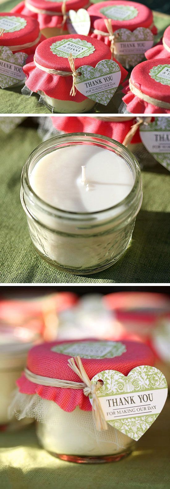 Mason Jar Candle Wedding Favors | Click Pic for 22 DIY Winter Wedding Ideas Dollar Stores | DIY Winter Wonderland Wedding Ideas