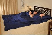 Dreamsack Queen Size Silk Double Sleep Sack-:  Rated a best buy the Wall Street Journal, our Dreamsacks silk sleep sacks protect you from germs on hotel bedding and the harsh detergents and chemicals used in hotel laundries. The Queen Size Double Dreamsack is the same size as a queen bed, has openings on each side with tab closures, and pouches for each partner's pillow.
