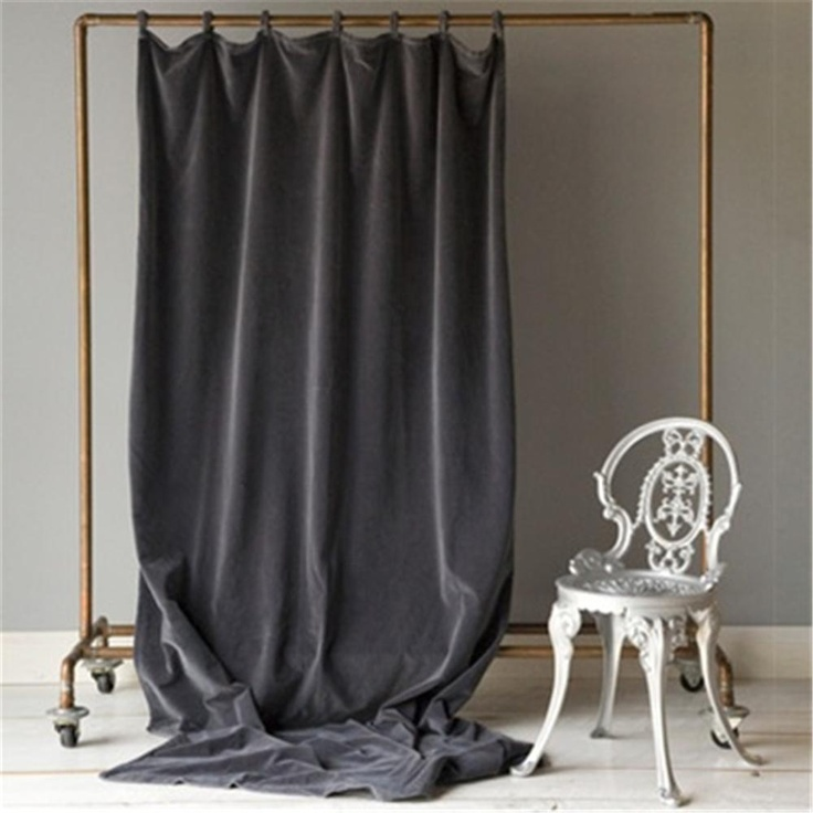 "Velvet Curtain Panel cute idea for homemade ""photo booth"" background"