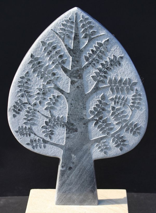 #Marble #sculpture by #sculptor Michael Disley titled: 'marble tree (Carved Stone Contemporary sculptures)'. #MichaelDisley
