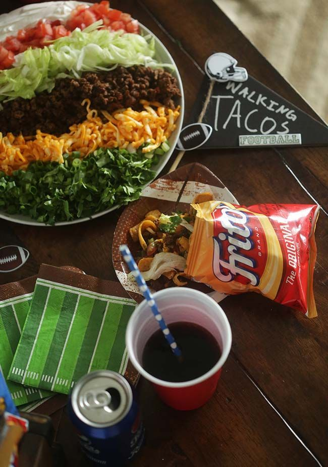 These tacos are made for walking: you can create this football party on-the-go snack in a single serving size by packing your favorite chip bag with all the ingredients for traditional tacos. Fork is optional. Via Billy Parisi