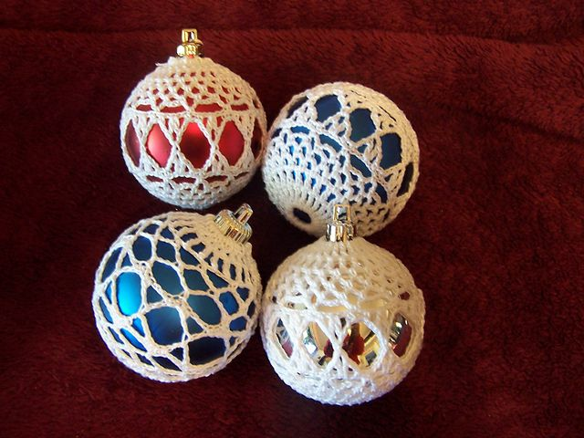 Free Crochet Patterns For Christmas Ball Covers : Ravelry: Project Gallery for Satin Ball Ornament Covers ...