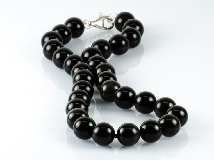 Natural Black Obsidian Gemstone Necklace Knotted Sterling Silver Clasp   The Beaded Garden