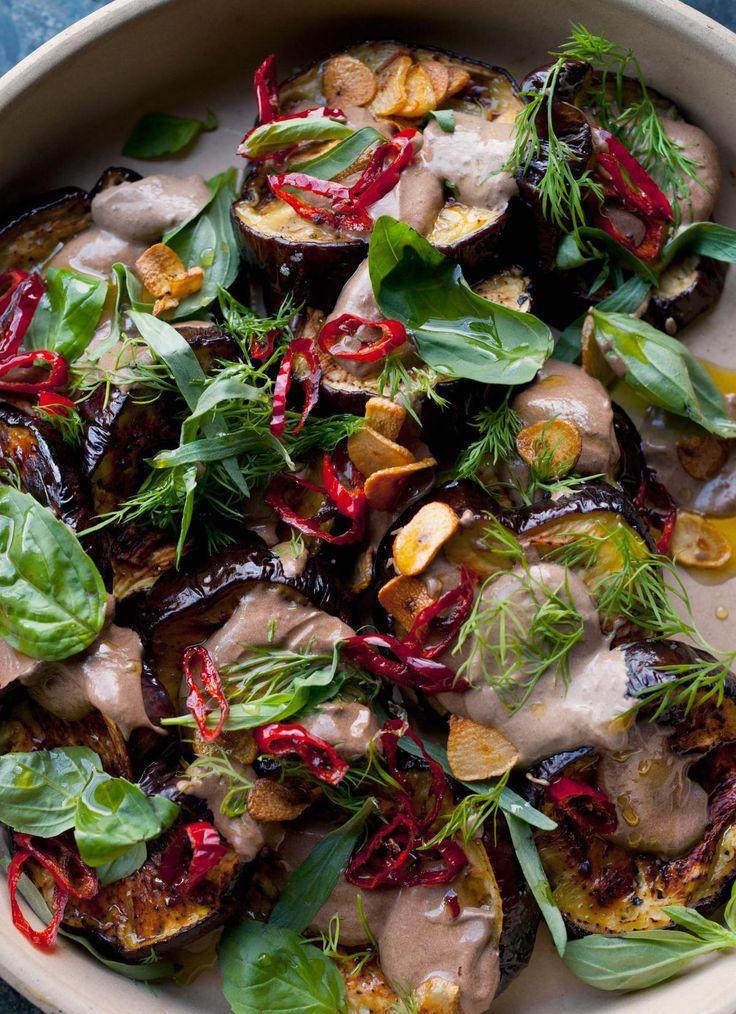 Aubergine with Black Garlic - The Happy Foodie