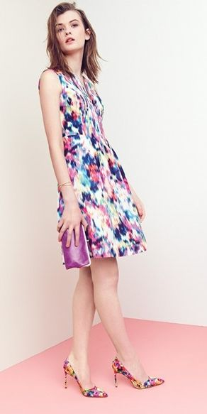 The flattering silhouette of this colorful fit & flare dress makes it perfect for any special occasion this season.