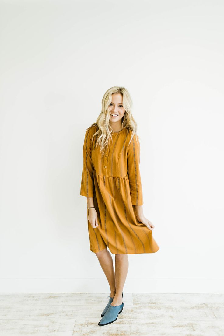 The Walters Dress in Carmel   ROOLEE