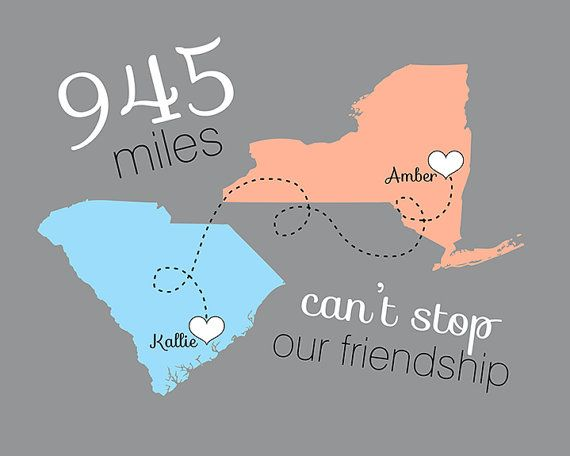 Moving Away Gift for Friend, Long Distance Friendship - 8x10 Custom Map, Miles, Distance Between, Heart Travel map, BFF Birthday Gift